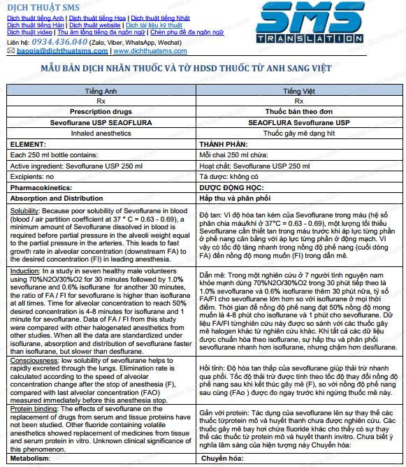 Bản dịch Nhãn thuốc và tờ HDSD thuốc SEAOFLURA Sevoflurane USP